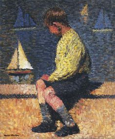 Andrew loves sailing his pond boats on the manor lake. (A Boy with Sailboats - Henri Martin)