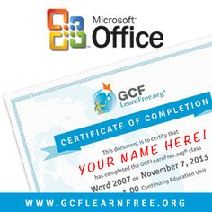 Want to earn a Certificate of Completion in Microsoft Office? Visit @GCFLearnFree.org today to register for a free online class and earn your #Office certification (as well as CEUs) today!