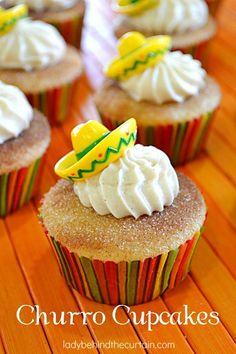 Churro Cupcakes Recipe   Adorable Cinco de Mayo Dessert Recipes by DIY Ready at http://diyready.com/23-cinco-de-mayo-recipes-to-get-the-party-started/