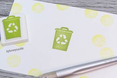 recycle bin stamp recycling rubber stamp eco by byhoneysuckle