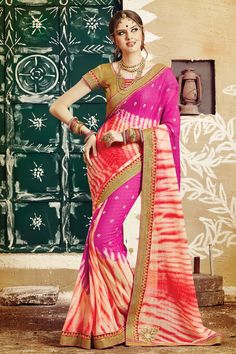 Traditional Bandhani Georgette Saree  Which Gives You Traditional Look....
