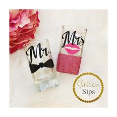 Mr. and Mrs. Shot Glass Set / His & Hers / Shot by GlitterSips