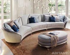 Ronde et canapé courbe avec meubles d'appoint originale Oversized Sectional Sofa, Round Sectional, Round Couch, Sectional Sofas, Sofa Layout, Furniture Layout, Pallet Furniture, Accent Furniture, Grey Leather Sofa