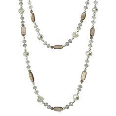 Bella Rose Fashion Grey Crystal Necklace - Extra Long