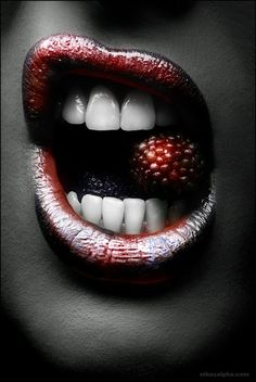 Blood-red berry lips ( makes me think of Katniss from Hunger Games)