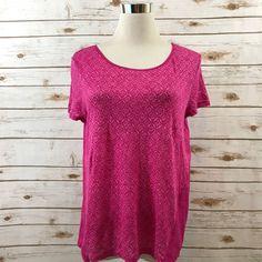 Womens Ralph Lauren MEDIUM LRL Printed Linen Top Hi Low Short Sleeves PINK EUC  | eBay