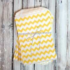 Chevron Favor Bags - Yellow - Medium