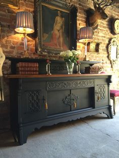 Fabulous Antique Gothic Style Sideboard Credenza Dresser French Oak Carved