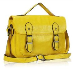 Ladies Womens Vintage Satchel Messenger Shoulder Bag Cross Body Handbag Yellow: Price:£19.95 [UK & Ireland Only]