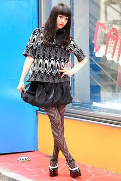 Tokyo, Japan Who: Nonoka What: Sister shop staff Wear: Sachio Kawasaki top and skirt   Read more: Global Street Style - Discover More Street Style  Follow us: @ElleMagazine on Twitter   ellemagazine on Facebook  Visit us at ELLE.com