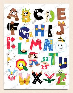 Alphabet Poster Wall by PepitosRoom Abc Poster, Alphabet Poster, Alphabet Wall Art, Letter Wall Art, Cute Alphabet, Poster Wall, Super Mario Party, Super Mario Bros, Super Mario Birthday