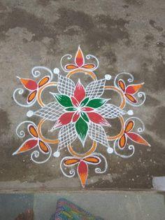 Rangoli Designs Latest, Rangoli Border Designs, Rangoli Patterns, Rangoli Ideas, Free Hand Rangoli Design, Small Rangoli Design, Rangoli Designs With Dots, Beautiful Rangoli Designs, Simple Art Designs