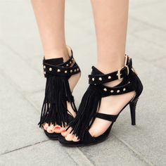 f554999afcb 2014 new tassel sweet open toes rivet bohemia high heels women shoes big  size sandals sandalias