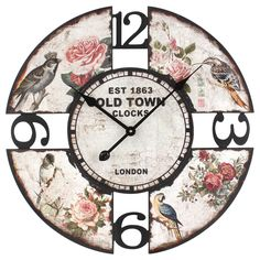 This listing is for one Vintage Style Shabby Chic MDF Super Large Birds Scene Wall Clock. Price £69.99