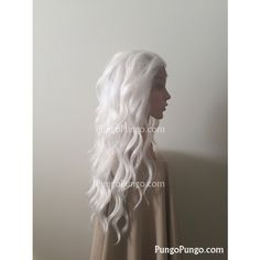 White Wig Long Curly 24 Lace Front Storm Xmen Khaleesi Daenerys... ($65) ❤ liked on Polyvore featuring beauty products, haircare, hair styling tools, bath & beauty, grey, hair care, wigs and curly hair care