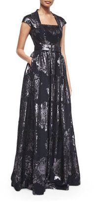 St. John Metallic Rose Jacquard Full Gown