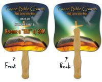 Religious Fans. Many church fans available. Jesus Fans, Bible Verse fans, and more Stock Design Paper Fans.  Paper Hand Fans & Hand Held Stick Fans. An inexpensive and popular promotional idea for churches, outdoor events, weddings, sporting events, political campaigns, and any event needing a large imprint, schedule, or photo imprint,  View our entire paper fan selection, all availbale with your logo, photo, or message at www.abetteridea.com