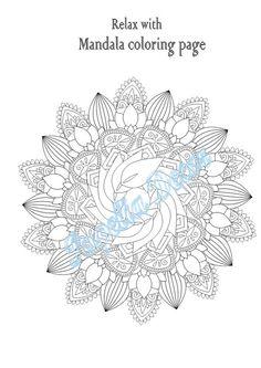 Mandala coloring page  Printable  Instant digital download