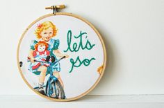 Hand Embroidery Hoop Art. Let's Go. Dick and Jane Themed. Sally on Bike. Hand Stitched. by Merriweather Council