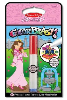 "Princess Colorblast Book - ON the GO Travel Activity: Use the ""Magic"" pen to color in the picture, and see vibrant colors, details, and patterns appear! Each page of the kids' activity book features a lively princess-themed artwork to complete and a seek-and-find activity, too. Makes a great travel toy."