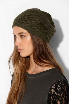 Open-Weave Slouch Beanie, but I love this hair color