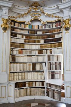 Jorge Royan Via commons Concave secret bookcase door antique books monastery environment awesome This secret bookcase door is inside Admont Abbey Library in Admont Au. Beautiful Library, Dream Library, Belle Library, Future Library, Bookcase Door, Bookshelves, Bookshelf Design, Books Decor, Future House