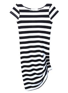 Women Casual Pure Cotton Black-White Stripe Scoop Asymetrical Slim Black Dress@WY2036b