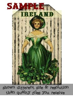 Irish St Patricks Day  Tags Printables  Downloadable by Penniwigs,