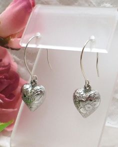 Puffy Heart Earrings Handcrafted Sterling Silver by Connieosity, $8.00
