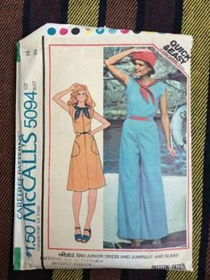 VTG 70's McCall's 5094 Misses' Dress, Jumpsuit & Scarf Pattern Size 16 Bust 38