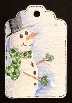 8 Winter Snowman Gift Tags Christmas Tags by TagsByTrudy on Etsy Creative Christmas Cards, Diy Christmas Presents, Christmas Cards To Make, Christmas Gift Tags, Xmas Cards, Holiday Crafts, Gift Cards, Watercolor Christmas Cards, Christmas Drawing