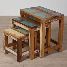 Indian Reclaimed-wood Nesting Tables set of 3pcs set op Etsy, 92,98 €