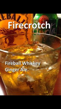 Fireball and ginger ale Booze Drink, Liquor Drinks, Whiskey Drinks, Cocktail Drinks, Beverages, Cocktails, Fireball Recipes, Drinks Alcohol Recipes, Whiskey Recipes