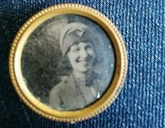Old Lapel Button Photo Holder Pin with Photograph made in Holland