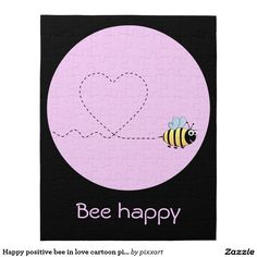 Happy positive bee in love cartoon pink puzzle