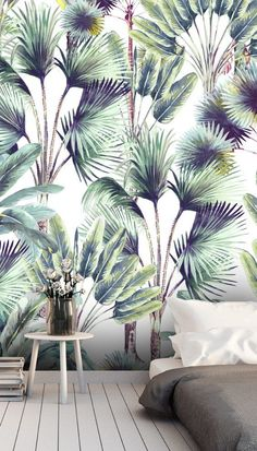 Get that perfect tropical feature wall with this custom-made Palm Spring White wallpaper. If you want a tropical print design, then choose this on-trend Palm Spring White wallpaper. The beautiful forest greens and blues of the palm leaves complement each other perfectly. Wouldn't this palm leaf wallpaper look great in a trendy lounge? Paint the surrounding walls white or navy blue for a dark and dramatic look. Discover more from Wallsauce! #homedecor #urbanjungle #wallpaper