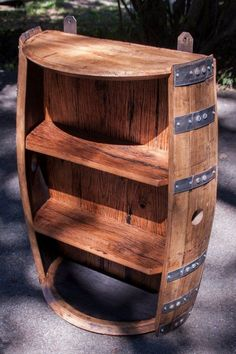 Bourbon Barrel and Reclaimed Barn wood Shelf Whiskey Barrel Decor, Wine Barrel Chairs, Whiskey Barrel Furniture, Wine Barrel Table, Bourbon Barrel, Wine Barrels, Barrel Projects, Diy Pallet Projects, Woodworking Projects