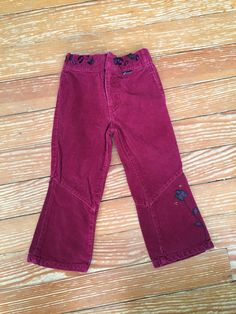 Guess 2T maroon corduroy pants with flowers