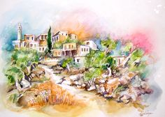 Jerusalem - Old Malcha area   Watercolor by Menahem Lavee