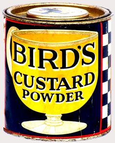 Bird's Custard was first formulated and first cooked by Alfred Bird in because his wife was allergic to eggs, the key ingredient used to thicken traditional custard. After he discovered… Bird's Custard, Custard Powder, Tea Biscuits, Key Ingredient, Tea Time, Recipies, Miniatures, Birds, Tin Cans