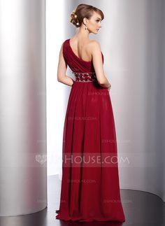 A-Line/Princess One-Shoulder Floor-Length Chiffon Evening Dress With Ruffle Beading (017014774)