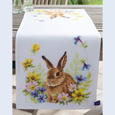 Hare in Flowers Table Runner - counted cross-stitch kit Vervaco