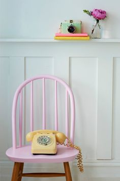 The chair featured here began life as a standard, wooden dining chair, and has been transformed into a bright, bubblegum pink piece of loveliness that would sit happily in any modern, trend savvy living space.