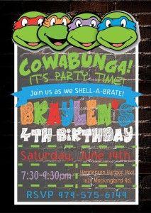 Teenage Mutant Ninja Turtle invitation for birthday party