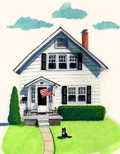 Custom Whimsical Watercolor House Portrait by PicketFencePortraits, $135.00