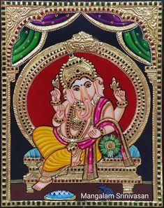 Ganesha Drawing, Lord Ganesha Paintings, Indian Wall Art, Tanjore Painting, Miniature Paintings, Lord Krishna Images, Indian Art Paintings, Secret Rooms, Fabric Printing