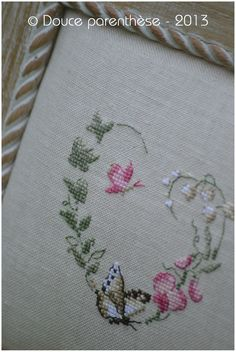 Beautiful butterflies and flower heart. Cross Stitch Heart, Cross Stitch Animals, Cross Stitch Flowers, Hand Embroidery Tutorial, Embroidery Patterns, Cross Stitching, Cross Stitch Embroidery, Cross Stitch Designs, Cross Stitch Patterns