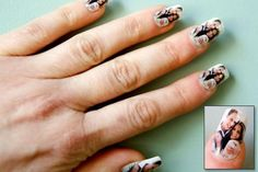 Taking the latest trend of wacky nail art a step further, a salon in London is giving patrons an opportunity to have the Royal Wedding on their fingernails by painting a picture of Prince William and his bride Kate Middleton on their nails. Wedding Day Nails, Wedding Manicure, Bride Nails, I Love Makeup, Prince William And Kate, William Kate, Nail Decals, Nail Stickers, Cool Nail Art