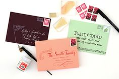 DIY Tutorial: Holiday Envelope Addressing Ideas by Antiquaria for Oh So Beautiful Paper