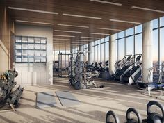 Gallery of Diller Scofidio + Renfro and Rockwell Group's 15 Hudson Yards Tops Out - 15 Diller Scofidio + Renfro and Rockwell Group& 15 Hudson Yards Tops Out,Fitness Center. Image Courtesy of Related-Oxford Fitness Design, Gym Design, Gym Interior, Interior Design, Interior Rendering, Interior Photo, Rockwell Group, Luxury Gym, Hotel Gym